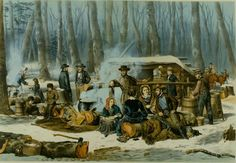 """American Forest Scene. / Maple Sugaring."" is an 1856 lithograph by Arthur Fitzwilliam Tait (1819 -1905) in the Adirondack Museum's collection."