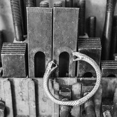 Our Vipera cuff looking at home in the workshop | Get yours at clocksandcolours.com