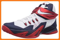 41370578f3a8d Nike Zoom Soldier VIII 8 Mens Basketball Sneakers White Red Blue Size 8.5  US (
