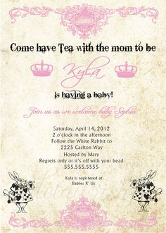 Alice in Wonderland Baby Shower Printable Invitation by Detailish, $14.00