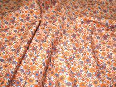 for sew easy dress pattern Orange Retro Floral 100% Cotton Poplin Dress Fabric - per metre Preview