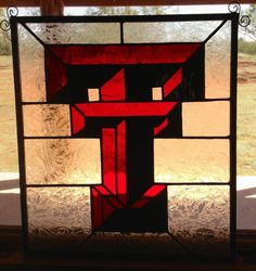 Texas Tech Stained glass panel by StainedGlassbyMelody on Etsy