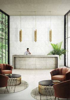 A Set Of Hotel Furniture, Where The Golden From The Brass Pendant Lights  Matches Perfectly