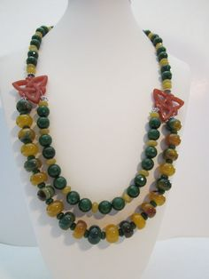 Green and Yellow Agate Statement Necklace Autumn by yasmi65, $45.00