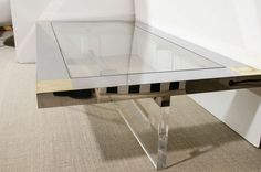 Romeo Rega Plexiglass, Chrome, and Glass Large Coffee Table, Italy circa 1970s | From a unique collection of antique and modern coffee and cocktail tables at https://www.1stdibs.com/furniture/tables/coffee-tables-cocktail-tables/