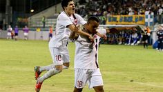 November 2012: Tarik Elyounoussi and Joshua King celebrate after the latter's goal against Cyprus