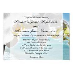 Aqua/White Orchid Beach Wedding Invitation