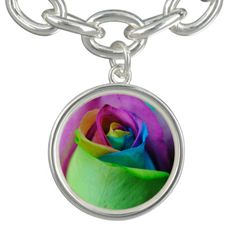 Rainbow dyed rose flower.
