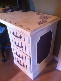 desk painted - i really like the stencil!