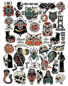 x Art Print (Limited Edition of Old Tattoos, Cute Tattoos, Body Art Tattoos, Tattoos For Guys, Sleeve Tattoos, Retro Tattoos, Desenho New School, Dessin Old School, Tattoo Flash Sheet