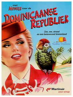 Travel Art Dominican Republic Print Poster Vintage Home Decor - In german - The Dominican Republic enjoys the pleasure of a large number of German tourists.