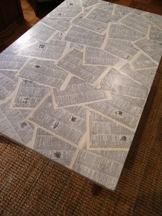 """Coffee Table Makeover...Mod Podge Style; I will probably do this on something a little smaller like a poster board size & use for articulation & language  """"seek & find"""" games."""