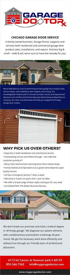 Garage Doctor, Inc. is a garage door repair and installation company that provides service for residential and commercial businesses. This business is located in Hanover Park, IL, and serves the western Chicago suburbs including Schaumburg, Elgin, Streamwood, Bartlett, South Elgin, Roselle, Bloomingdale, Elk Grove Village,