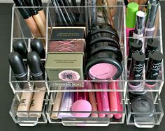 "Arya acrylic makeup organizer storage tray is our ""Most Loved"" in the modular collection. Helping you keep you makeup as they were meant to be stored, the right way up and each with their own clearly"