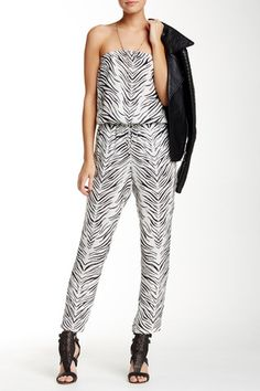 Strapless Allover Print Silk Jumpsuit