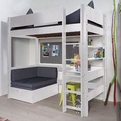 25 DIY Kids Furniture Plans is part of Loft bunk beds - There are great ideas on DIY kids furniture for their bedrooms, living rooms and even outdoors so the furniture can accommodate them in every Cute Bedroom Ideas, Cute Room Decor, Girl Bedroom Designs, Room Ideas Bedroom, Bedroom Decor, Loft Bunk Beds, Bunk Beds With Stairs, Loft Bed With Couch, Bunk Bed With Desk