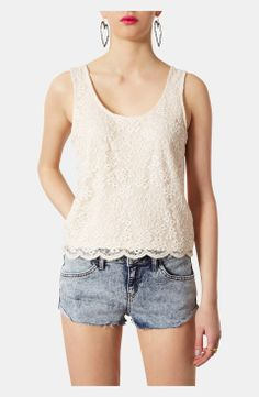 Topshop Sheer Back Floral Lace Tank | $25 | sheer crazy gifts for her | sheer womens top | womenswear | womens fashion | womens style | wantering http://www.wantering.com/womens-clothing-item/topshop-sheer-back-floral-lace-tank/ablaA/