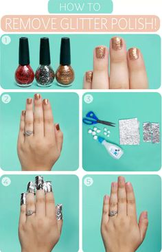 This is one of the most traditional methods for removing glitter polish. All you need to do is soak 10 cotton balls in remover, place them on each nail, and then wrap them in tinfoil. After they soak, removing the polish should be a breeze!
