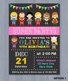 SUPERHERO Girls Invite Superhero Birthday Invitation Supergirl Batgirl Digital Printable JPG File