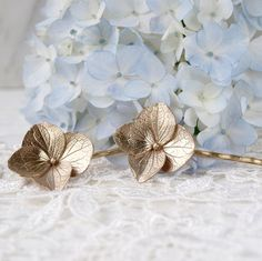 Hydrangea Bobby Pins Hair Clips in Solid Bronze by WoodlandBelle, $54.00
