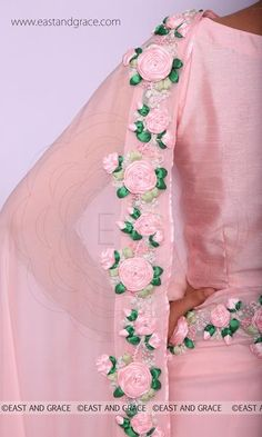 PRODUCT DESCRIPTION: Featuring a balmy baby pink pure chiffon saree with beautifully embroidered satin pink rose vines along the edges. Organza Saree, Chiffon Saree, Saree Dress, Embroidery Saree, Silk Ribbon Embroidery, Sari Design, Work Sarees, Fancy Sarees, Ribbon Work