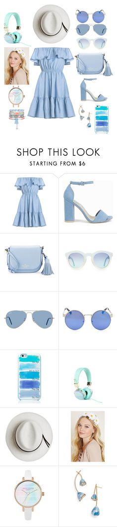 """""""Babyblue Beach"""" by chxrmarie ❤ liked on Polyvore featuring Nly Shoes, Kate Spade, Ray-Ban, Calypso Private Label, Forever 21, Tory Burch and New Look"""