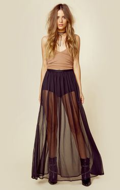 375222ae6d7 The Jetset Diaries  Ara Maxi Skirt features a sheer floor length skirt with  shorts lining