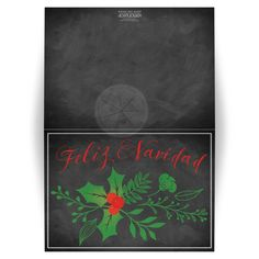 Great personalized chalkboard Feliz Navidad Spanish Christmas or Holiday card with holly, berries, greenery and photo template.