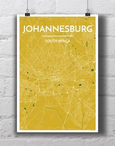 Johannesburg City Map Print by PointTwoMaps on Etsy