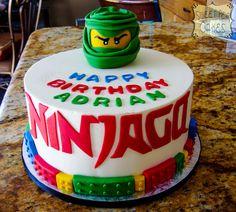 Buttercream Ninjago birthday cake with fondant details. **Add second tier, replace the figure on top with actual lego ninja figures. Put Jack's name on the side instead of Ninjago** Bolo Ninjago, Lego Ninjago Cake, Ninjago Party, Lego Cake, Ninja Birthday Cake, Ninja Cake, Lego Birthday Party, 7th Birthday, Birthday Ideas