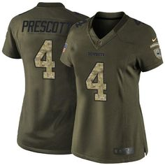 Nike Cowboys #4 Dak Prescott Green Women's Stitched NFL Limited Salute to Service Jersey