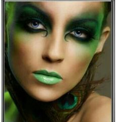 elf-makeup-g poison ivy costumes and makeup images Yeux Halloween, Looks Halloween, Maquillaje Halloween, Halloween Face Makeup, Halloween Fairy, Peacock Halloween, Halloween Costumes, Medusa Halloween, Halloween Plates