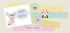Hoppy Easter cards and cake toppers printabels.  Mega cute!