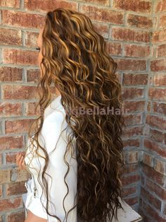 "Dark Blonde Honey Balayage Human Hair Blend Multi Parting Swiss lace front wig 26"" Lace front wigsPaige Bella- Nikki Bella Hair www.NikkiBellaHair.com"