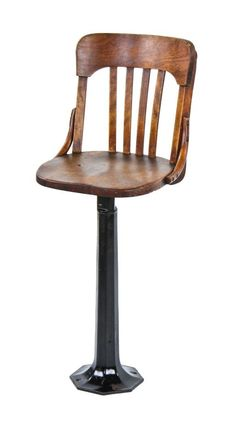 c. 1923 chicago commercial building interior elevator cab operator swivel stool or chair with slat back contoured backrest