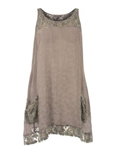 Exelle Embellished cotton-blend dress in Taupe-Grey / Khaki-Green