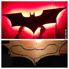 Awsome Batman sign party backdrop Idea DIY. Can also be wireless use under cabinet battery lights.