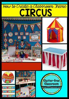 Circus theme classroom decor ideas and carnival theme printables for decorating a classroom Circus Theme Classroom, Elementary Classroom Themes, Infant Classroom, Kindergarten Themes, Classroom Decor Themes, Preschool Classroom, Classroom Ideas, Preschool Circus Theme, Circus Decorations