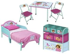 Nickelodeon Dora 3Pc Room Set - Includes Toddler Bed, Metal Multi Bin & Folding Table & Chairs on shopstyle.com