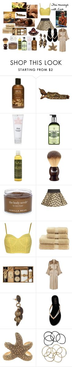 """""""Thai massage with Liam"""" by tess-94 ❤ liked on Polyvore featuring Chopra Center, Molton Brown, SheaMoisture, L'Occitane, Sara Happ, rag & bone, Christy, Temperley London, Giles & Brother and Tkees"""
