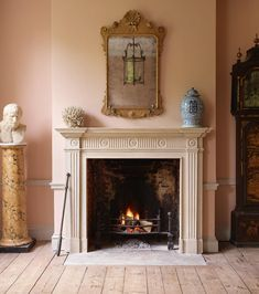 Timeless Interiors Or A Passing Trend? How To Tell The Difference - wonderful fireplace mantel - via Jamb - London Marble Fireplaces, Fireplace Mantels, Mantles, Fake Fireplace, Fireplace Wall, Fireplace Surrounds, Fireplace Ideas, Mad About The House, Colour Story