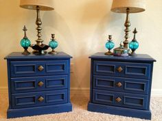 "Two Vintage Stormy Blue Night Stands or End Tables  Quality Construction by Drexel  Original Hardware  24"" L x 23"" H x 19"" W"