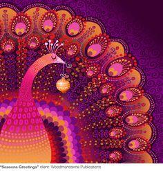 "Galia Bernstein ""Seasons Greetings"" peacock zentangle bird"