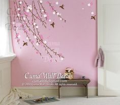 pink cherry blossom birds nursery wall decals tree vinyl wall decals decal children wall sticker nursery room- flower bird by cuma on Etsy, Bird Nursery, Nursery Room, Nursery Wall Art, Nursery Wall Stickers, Vinyl Wall Decals, Pink Christmas Decorations, Flower Wall Decals, Girl Bedroom Designs, Flower Bird