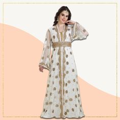 Get ready for your next occasion in this traditional floral embroidery Moroccan Caftan! The top quality georgette fabric not only looks flattering but also keeps you comfortable for longer hours. Product no: 8288 Floral Embroidery, Embroidery Designs, Kaftan Abaya, Moroccan Caftan, Georgette Fabric, Fabric Beads, Modest Outfits, Dresses With Sleeves, Traditional