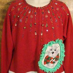 Glittery 2sided Cat Christmas Sweater