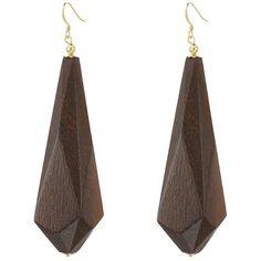 Kenneth Jay Lane Dark Wood Drop Earrings (Brown) Earring (305 DKK) ❤ liked on Polyvore featuring jewelry, earrings, brown earrings, kenneth jay lane earrings, dark jewelry, earring charms and charm jewelry