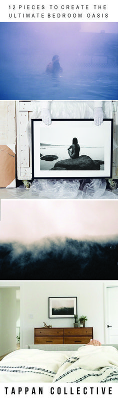 Looking for interior decor inspiration? Serene landscapes to black and white abstract paintings, explore Tappan Collective for the perfect piece of art to express yourself. A bedroom design you'll love.
