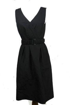 Halogen Women Shirt Dress Black Belt V-neck Size 4 Lined Cotton Silk Blend #ShirtDress #WeartoWork