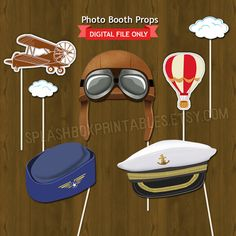 Vintage Travel Photo Booth Props – Around the World Aviator Party Printable Photographic … - Party Ideas Birthday Photo Booths, Birthday Photos, Vintage Airplane Party, 1940s Party, Around The World Theme, Travel Baby Showers, Foto Fun, Going Away Parties, 21st Party